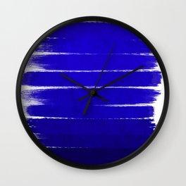 Shel - abstract painting painterly brushstrokes indigo blue bright happy paint abstract minimal mode Wall Clock