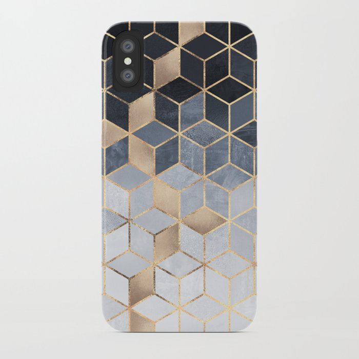 Soft blue gradient cubes iphone case by for Design a case