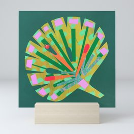 Fan Leaf in Green Mini Art Print