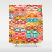 ikat Shower Curtains featuring Greeshma ikat by Sharon Turner