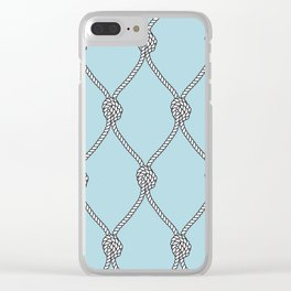 Rope Knots Print- Light Blue Clear iPhone Case