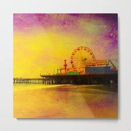 Yellow Purple Santa Monica Pier Metal Print