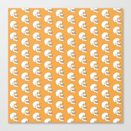 White Skull Pattern with Light Orange Background Canvas Print