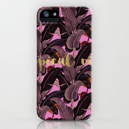 tropical vibes banana leaves iPhone Case