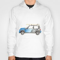 mini cooper Hoodies featuring Magnificent Mini Cooper by Fuzzy Art