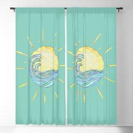 Sun Wave Aqua  Blackout Curtain