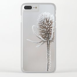 Thistle in the winter Clear iPhone Case