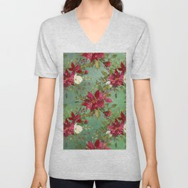 Burgundy red forest green white watercolor Christmas flowers Unisex V-Neck