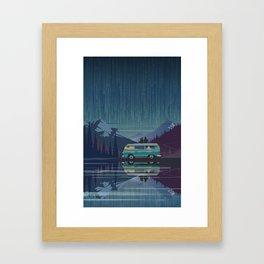 Retro Camping under the stars Framed Art Print