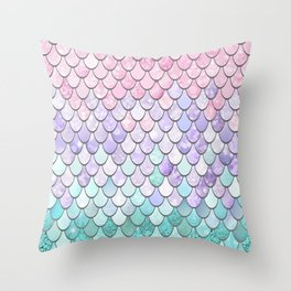 Mermaid Pastel Pink Purple Aqua Teal Throw Pillow