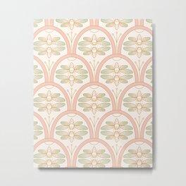 Art Deco Cicada Pattern, Retro Cicadas in Pastel Soft Rose Blush, Mint, Beige Cream and Golden Color, Gold Vintage Bugs Metal Print