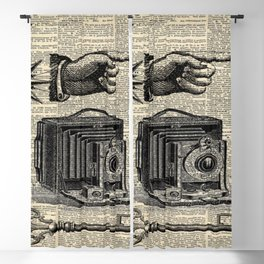 nautical compass dictionary print steampunk skeleton keys antique camera Blackout Curtain