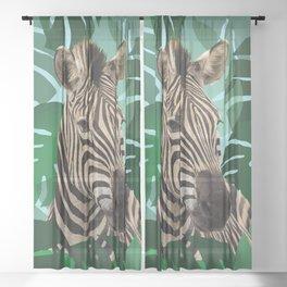 Zebra Monstera Leaves #society6 Sheer Curtain