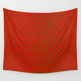 Large Green Hearts on Christmas Red Wall Tapestry