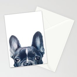 French Bull dog Dog illustration original painting print Stationery Cards
