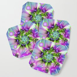 Colorful, Abstract And Modern Fractal Art Coaster