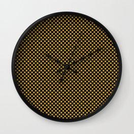 Black and Nugget Gold Polka Dots Wall Clock