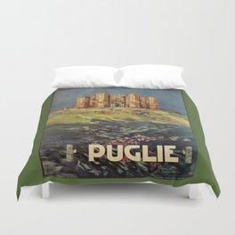Apulia Castle del Monte vintage Italian travel ad Duvet Cover