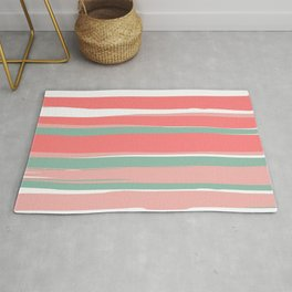 Festive, Abstract, Colorful Stripes, Coral and Green Rug