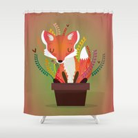 fox Shower Curtains featuring Fox by Maria Jose Da Luz