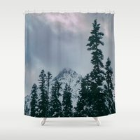 snowboard Shower Curtains featuring Cascade Winter Mountain by Leah Flores