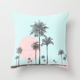 Beachfront palm tree soft pastel sunset graphic Throw Pillow