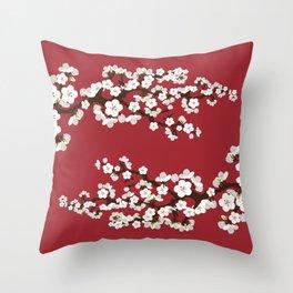 Japanese Sakura Cherry Blossoms (red) Throw Pillow