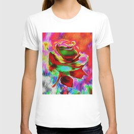 Funky Painterly Rose By Annie Zeno T-shirt