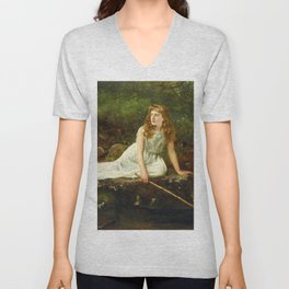"John Collier ""The Butterfly inscribed 'Portrait of Mabel...'"" Unisex V-Neck"