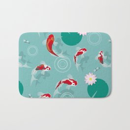 Koi swim in the clear water Bath Mat