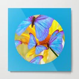 Shiny Blue Butterflies On A Yellow Flower #decor #society6 #buyart Metal Print