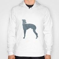 greyhound Hoodies featuring Greyhound by Three Black Dots