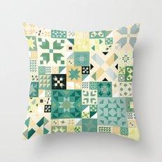 Teal Quilt Pattern Throw Pillow