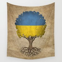ukraine Wall Tapestries featuring Vintage Tree of Life with Flag of Ukraine by Jeff Bartels