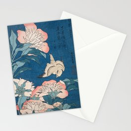 Katsushika Hokusai - Peonies and Canary, 1834 Stationery Cards