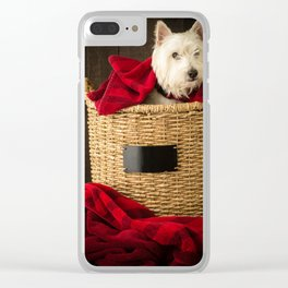 Puppy in the Laundry Basket 2 Westie Dog Clear iPhone Case