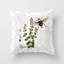 Cottage Style Thyme, Bumble Bee, Hummingbird, Herbal Botanical Illustration Throw Pillow