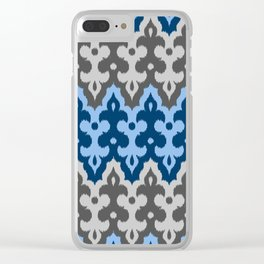 Moroccan Ikat Damask, Shades of Blue and Gray / Grey Clear iPhone Case