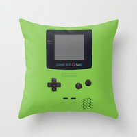 gameboy Throw Pillows featuring GAMEBOY Color - Green by Cedric S Touati