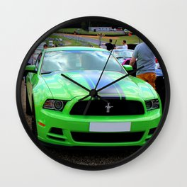 Yellow and Green Mustangs Wall Clock