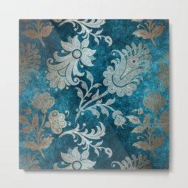 Aqua Teal Vintage Floral Damask Pattern Metal Print
