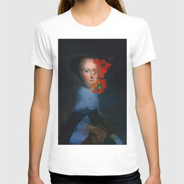 She hides behind the flowers T-shirt