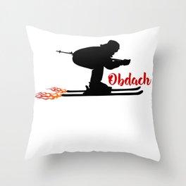 Ski speeding at Obdach Throw Pillow