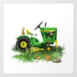 Tractor Bunnies Art Print