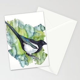 watercolor magpie Stationery Cards