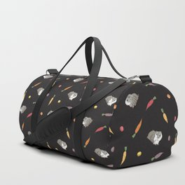 Carrot and Silkie Guinea Pig Pattern in Black Background Duffle Bag