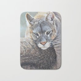Just Chillin - Cougar Painting by Alan M Hunt Bath Mat