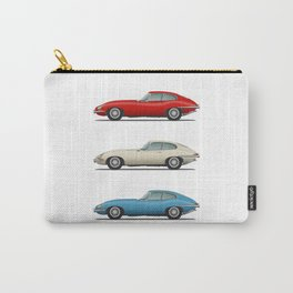 Jaguar E Type Fixed Head Coupe Red White and Blue Carry-All Pouch