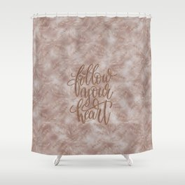 Vintage Palm Leaves Follow Your Heart Typography Shower Curtain