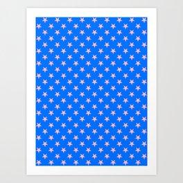 Cotton Candy Pink on Brandeis Blue Stars Art Print